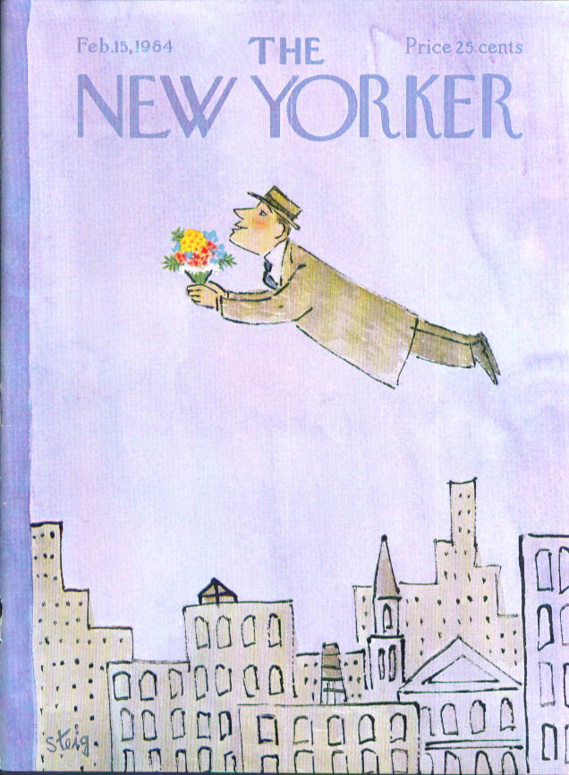 New Yorker cover Steig man flies with bouquet 2/15 1964