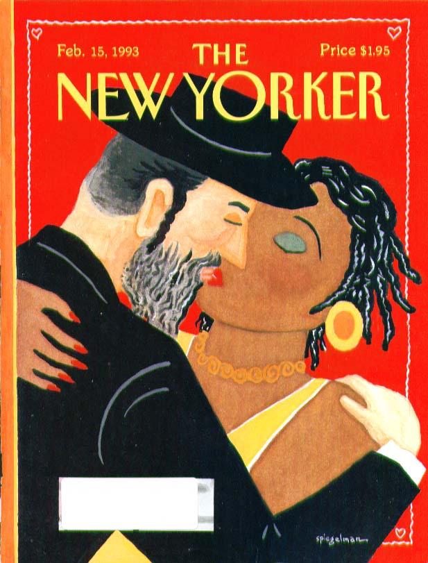 New Yorker cover Art Spielgelman Hassidim kisses black woman 2/15 1993