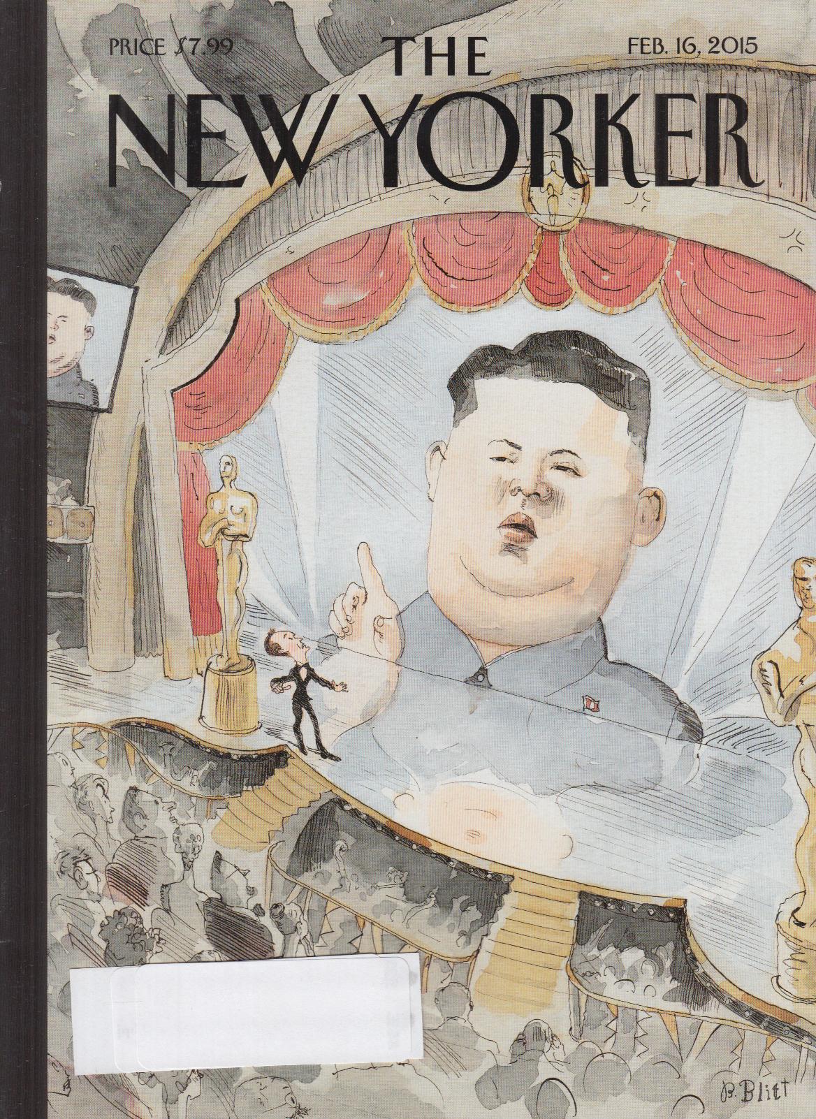 New Yorker cover Blitt 2/16 2015 Kim-Jung Un invades Oscars on huge video screen