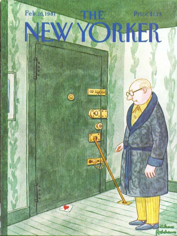 New Yorker cover Addams Valentine under quadruple-locked door 2/16 1981