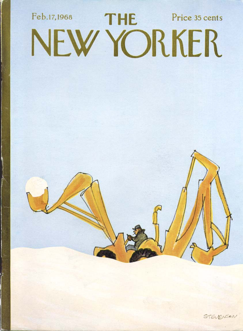 New Yorker cover Stevenson payloader in snow 2/17 1968
