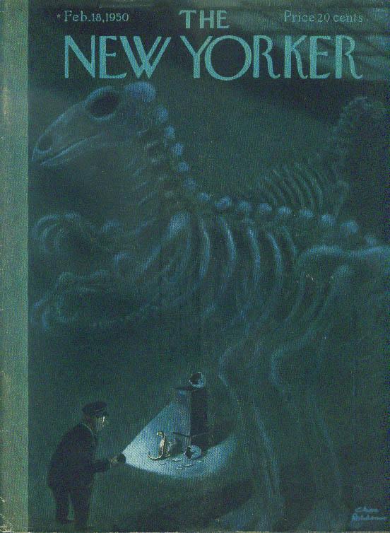 New Yorker cover Chas Addams Baby dinosaur & egg under museum skeleton 2/18 1950