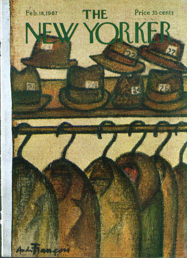 New Yorker cover Francois coat room hat check 2/18 1967