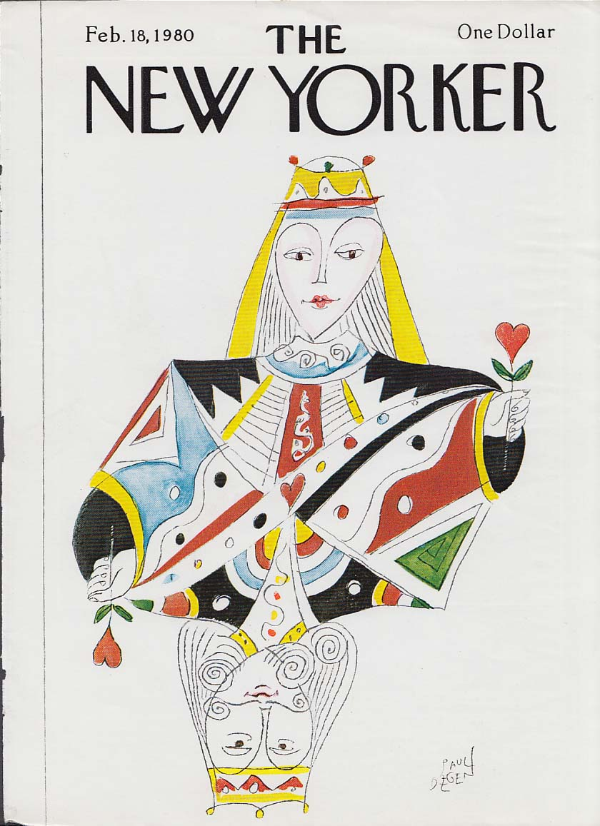 New Yorker cover 2/18 1980 Paul Degen King & Queen of Hearts