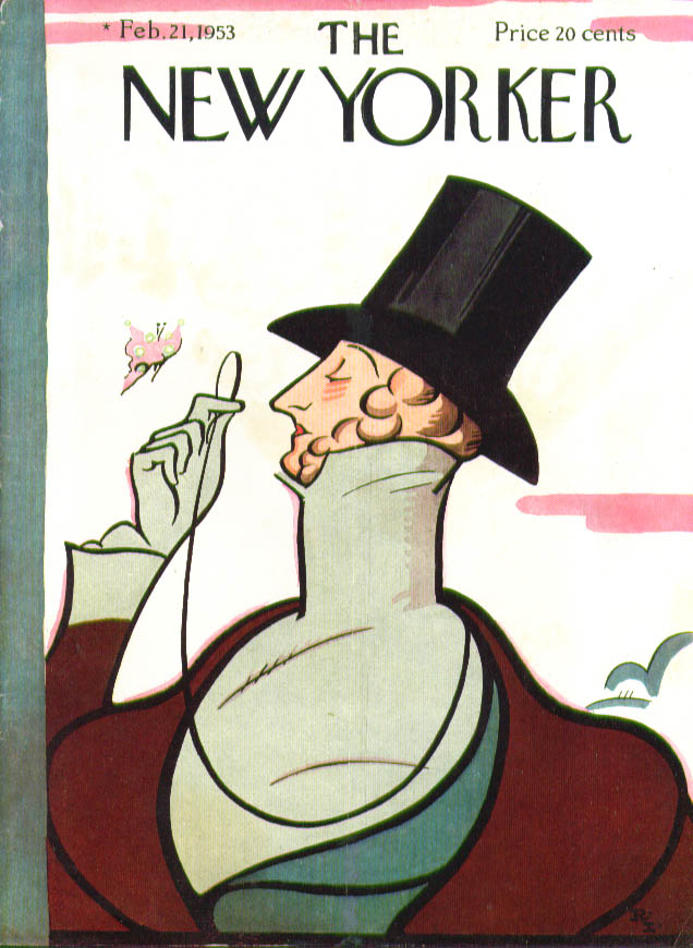New Yorker cover Rea Irvin Eustace Tilley 2/21 1953