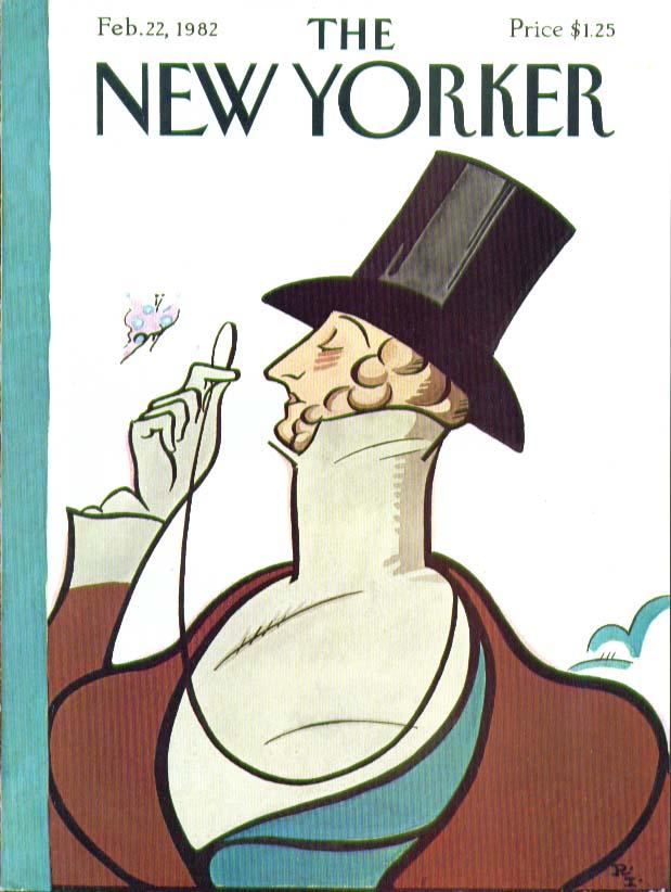 New Yorker cover Rea Irvin Eustace Tilley 2/22 1982