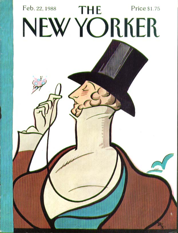 New Yorker cover Rea Irvin Eustace Tilley 2/22 1988