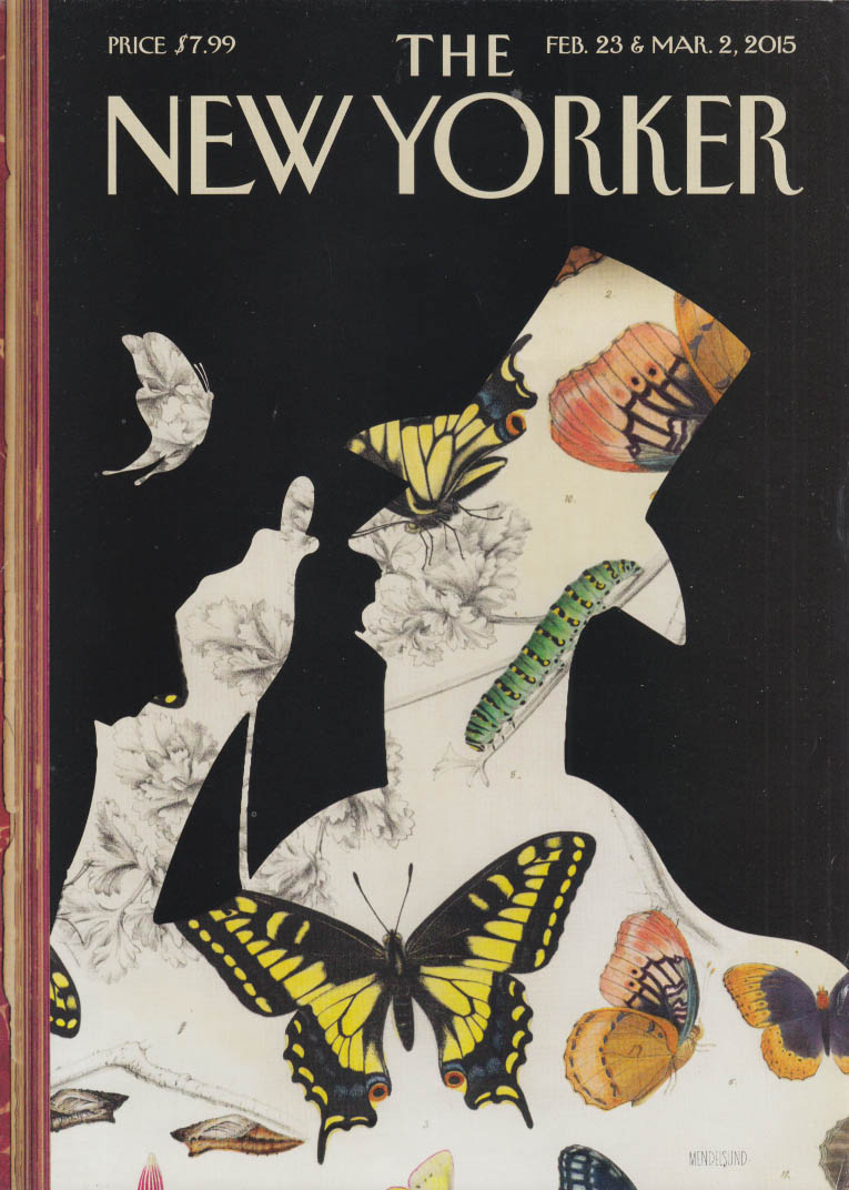 New Yorker cover 2/23 2015 #1 Mendelsund Eustace Tilley profile butterfly motif