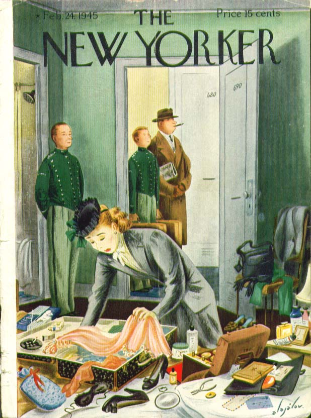 New Yorker cover Alajalov wife packing slowly in hotel room 2/24 1945