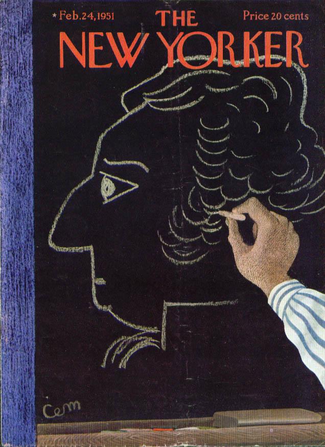 New Yorker cover Martin Washington in chalk 2/24 1951
