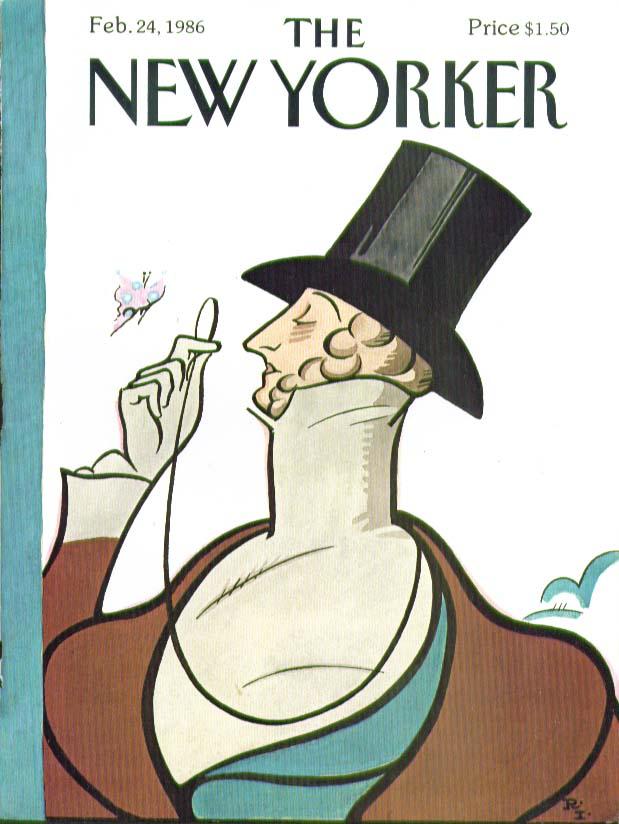 New Yorker cover Rea Irvin Eustace Tilley 2/24 1986