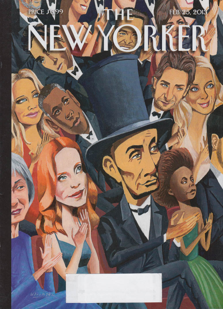 New Yorker cover 2/25 2013 Ulriksen: Abe Lincoln among the movie star audience