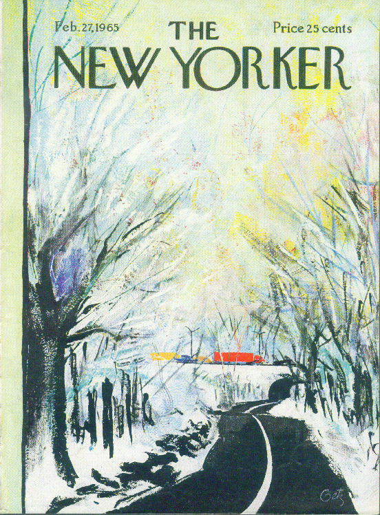 New Yorker cover Getz empty lane full parkway 2/27 1965