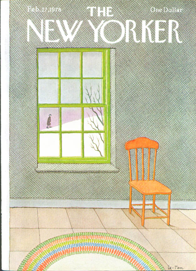 New Yorker cover Le-Tan man in snow in window 2/27 1978