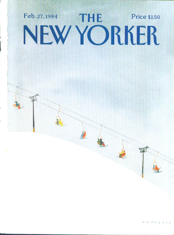 New Yorker cover Quezada skilift riders color 2/27 1984