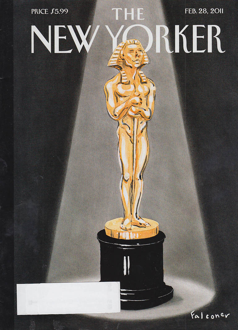 New Yorker cover 2/28 2011 Falconer: Sphinx-headed Oscar