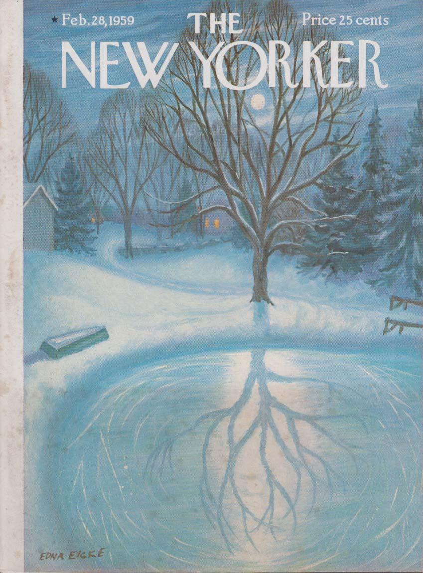 New Yorker cover Eicke moonlit skate pond 2/28 1959