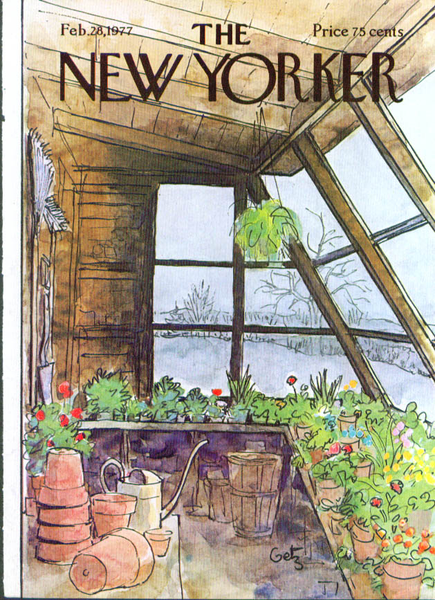 New Yorker cover Getz greenhouse blooms 2/28 1977