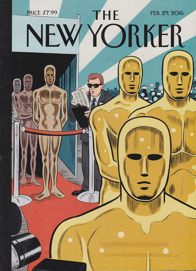 New Yorker cover Clowes 2/29 2016 Gold Oscars admitted, other colors not