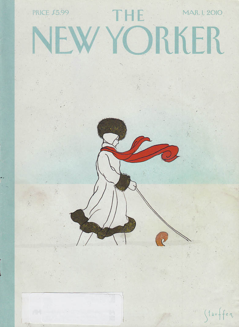 New Yorker cover 3/1 2010 Stauffer: woman walks dog hidden in snowfall
