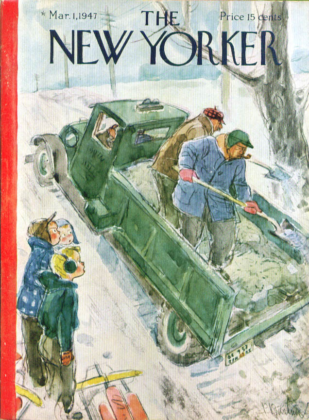 New Yorker cover Barlow sand spoils sledding 3/1 1947