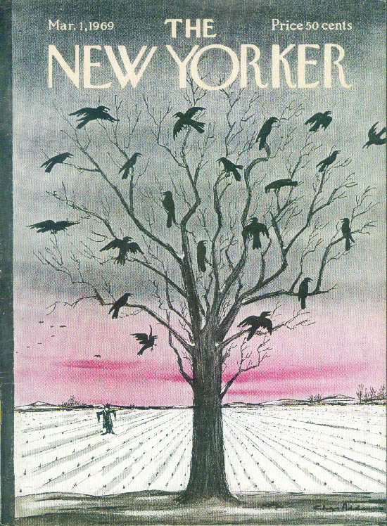 New Yorker cover Addams crows in naked tree 3/1 1969