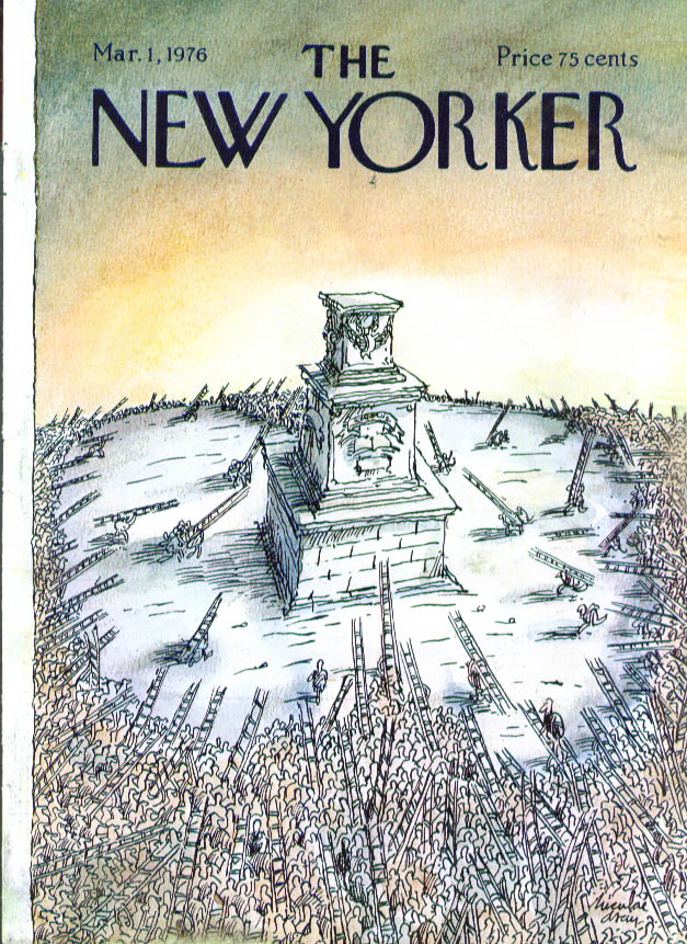New Yorker cover Asciu storming the pedestal 3/1 1976