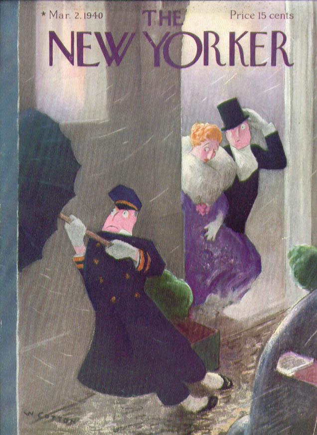 New Yorker cover Cotton rainswept doorman 3/2 1940