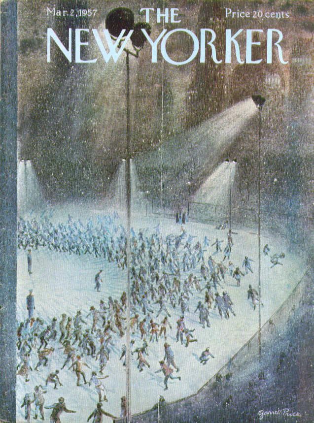 New Yorker cover Price night iceskating rink 3/2 1957