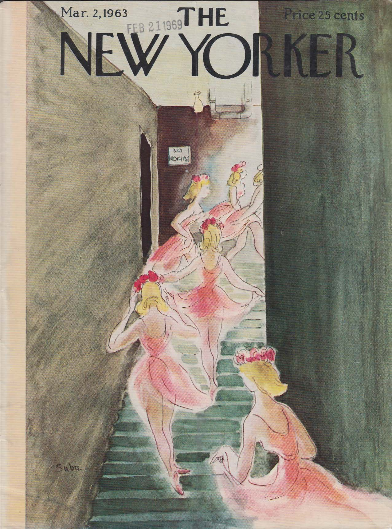 New Yorker cover Suba spring dancers off-stage 3/2 1963