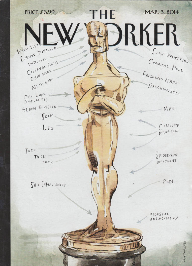 New Yorker cover 3/3 2014 Blitt: Oscar Academy Award with plastic surgery noted