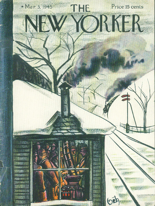 New Yorker cover Getz warm stove train depot 3/3 1945