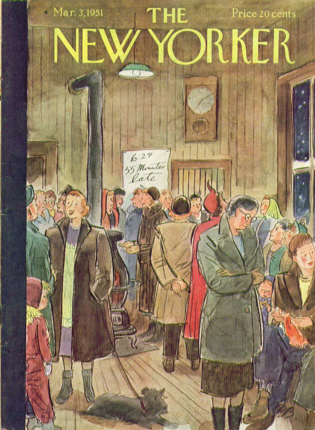 New Yorker cover Barlow commuters wait 3/3 1951