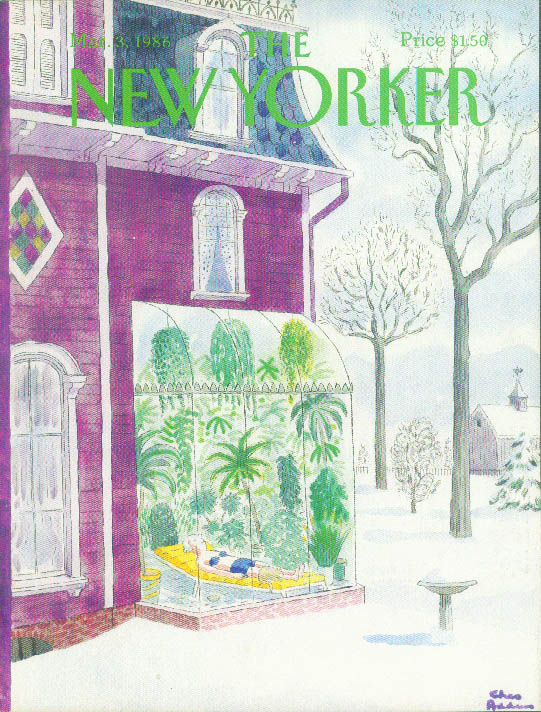New Yorker cover Addams greenhouse tanning 3/3 1986