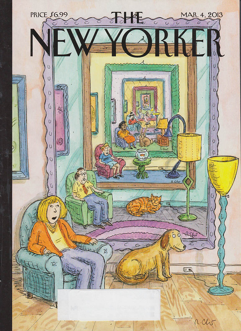 New Yorker cover 3/4 2013 Roz Chast: household portraits with their pets