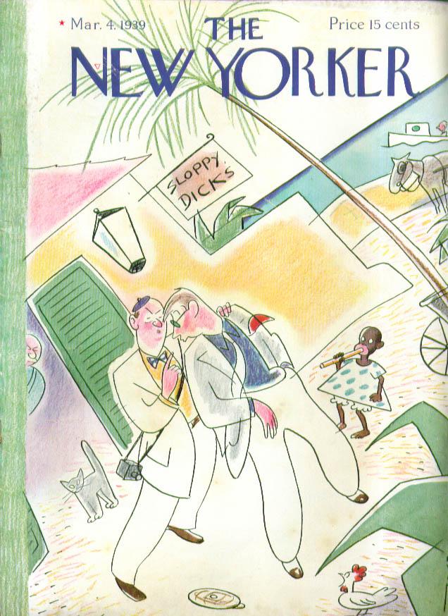 New Yorker cover Rea Irvin Inebriated men leave Sloppy Dick's Caribbean 3/4 1939