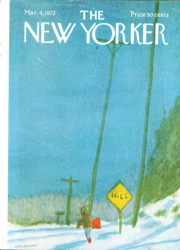 New Yorker cover Stevenson kid heads for hill 3/4 1972