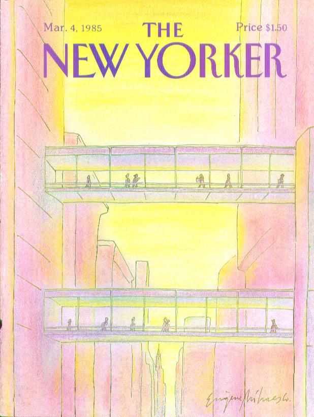 New Yorker cover Mihaesco skyscraper walkways 3/4 1985