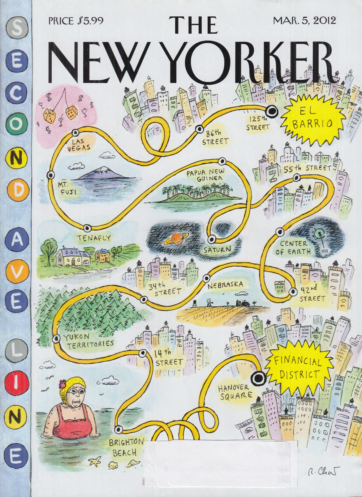 New Yorker cover Chast El Barrio to Financial Distrct road map 3/5 2012