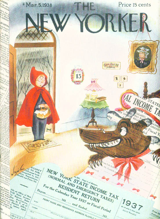 New Yorker cover Alajalov Red Riding Hood man Income Tax wlf awaits 3/5 1938
