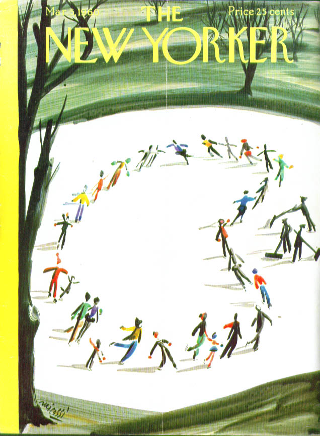 New Yorker cover Micossi skating circle pond 3/5 1960