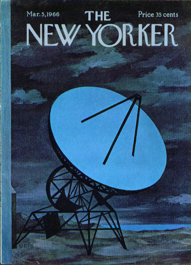 New Yorker cover Charles E Martin blue satellite dish 3/5 1966