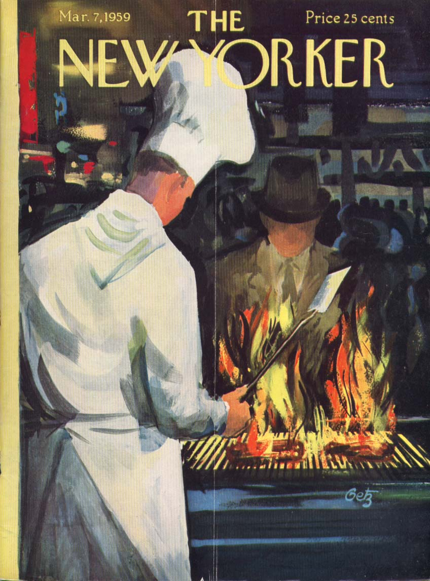 New Yorker cover Getz steaks cook window chef 3/7 1959