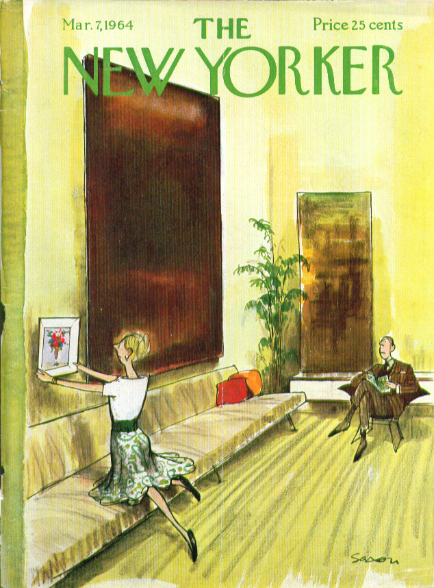 New Yorker cover Saxon tiny still big abstract 3/7 1964