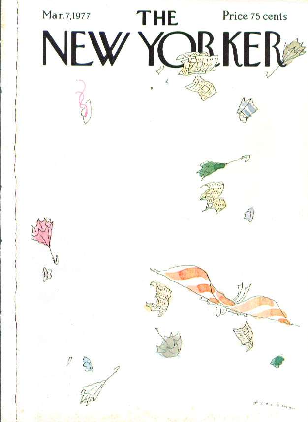 New Yorker cover Blechman man flies 3/7 1977