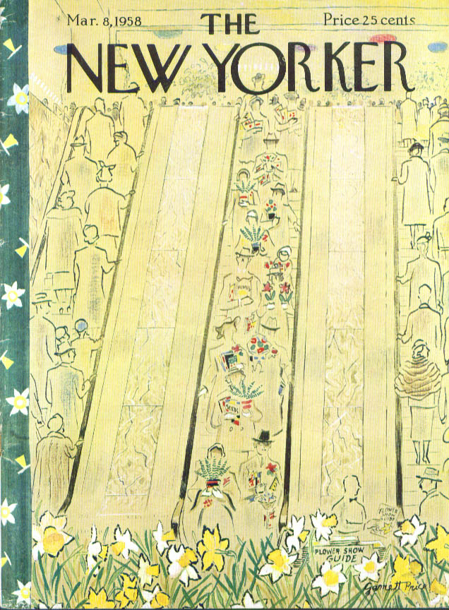 New Yorker cover Price flower show escalator 3/8 1958
