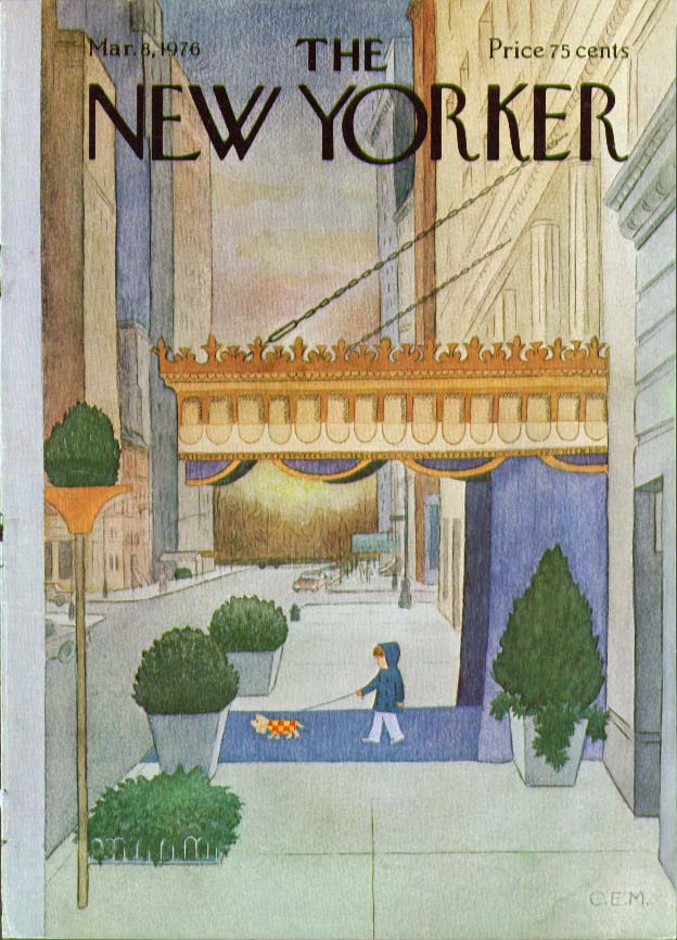 New Yorker cover Martin child walks dog 3/8 1976