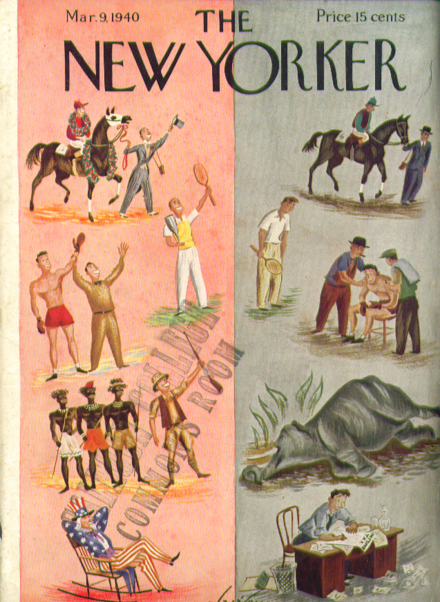 New Yorker cover Alajalov winners & losers 3/9 1940