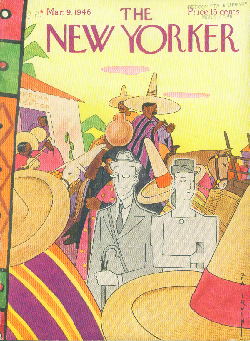 New Yorker cover Rea Irvin grey tourists & colorful Mexican villagers 3/9/1946