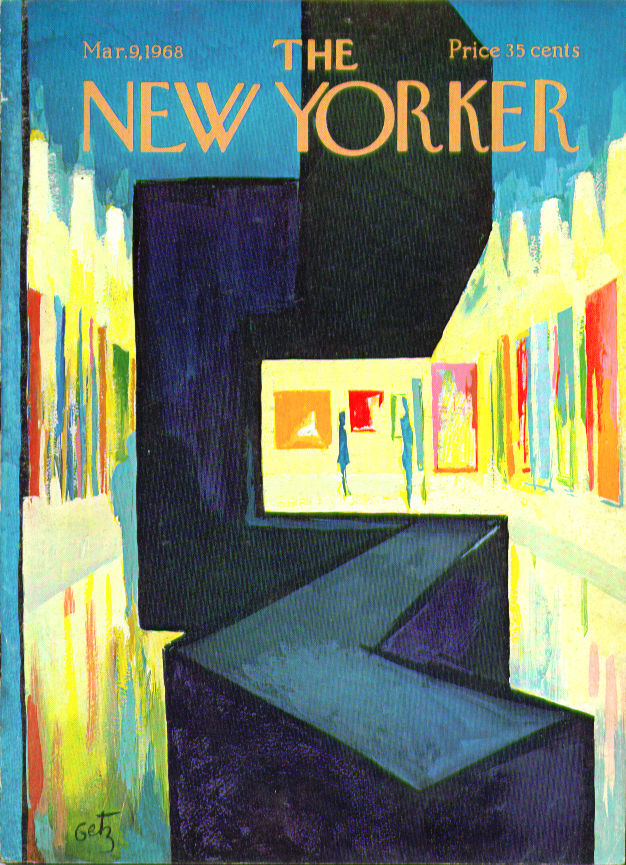 New Yorker cover Getz brightly lit art gallery 3/9 1968